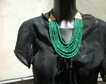 Gorgeous genuine Emerald Necklace. (seven rows).
