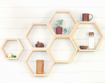 Hexagon Shelf, Wood Shelf, Honeycomb Shelves, Geometric Floating Shelf