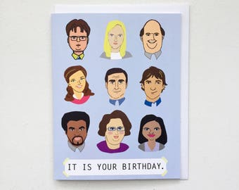 The Office TV Birthday Card - the office tv show card, dunder mifflin card, dwight pam jim michael card