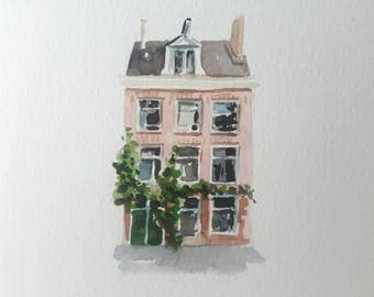 Original watercolor painting, tiny painting, amsterdam house, canal house, small watercolor, mini painting, dutch painting, mini painting