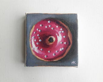 original acrylic painting, donut painting, tiny painting, mini painting, kitchen art, small paintings, pink donut, acrylic canvas, original
