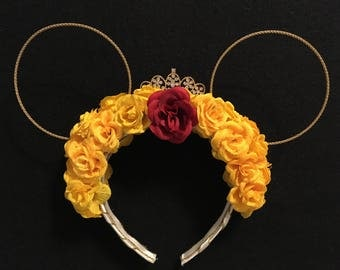 Belle or Beauty and the Beast inspired floral custom mouse ears
