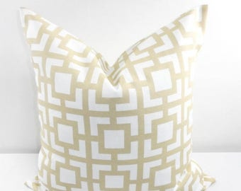 SALE BEIGE Pillow. Outdoor Indoor Pillow cover. Sand and White.1 piece.  Stain dirt resistant. Cushion Cover. Select your size