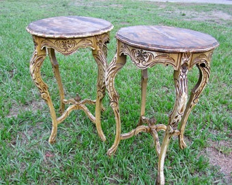 Vintage wood baroque ornate side tables / mid  century decor