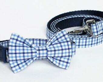 Preppy Blue Plaid Collar and Leash Set, Wedding Set, pet bow tie, collar bow tie, wedding bow tie