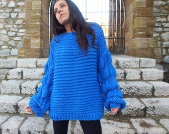 Chunky sweater, Chunky knit, Oversized sweater, Wool sweater,Blue sweater, Women sweater, Bulky knit sweater, Pull