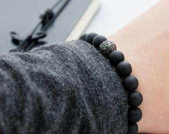 Silver Wave Bead Bracelet, Silver Beaded Bracelet, Shungitte Silver Bracelet, Gift for Him, Mens Beads Bracelet, Black Silver Beads Bracelet