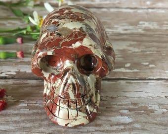 Red Jasper Skull- Brecciated Red Jasper Skull-Carved Gemstone Skull- Skull- Crystal Skull- Realistic Skull Carving