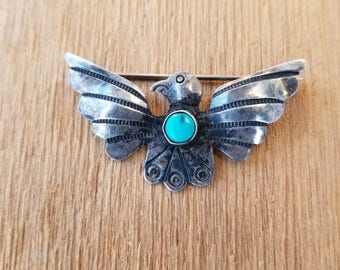 Vintage Sterling Silver and Turquoise Handmade Thunderbird Pin Brooch Fred Harvey Era Native American