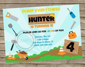 Truck / Construction Birthday Party Invitation