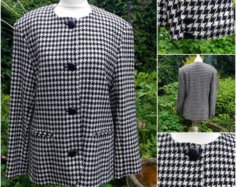 Black and white check jacket 80's houndstooth dogtooth At Michael made in UK