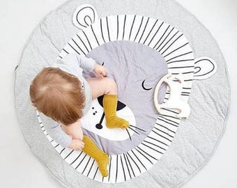 Lion play mat, tummy time mat, photo prop, lion round blanket