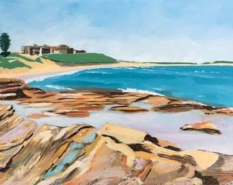 Cronulla Rocks Painting, Original, Textured Acrylic on Canvas, Australian Artist, Ready to Hang