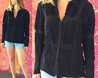Sale Biker Jacket Suede Jacket Beaded Jacket Crochet Jacket Vintage 70s Hippie Luxe Suede Jacket