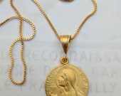 Necklace - Saint Mary Magdalene 25mm Medal Necklace - 18K Gold Vermeil + 18 inch Gold Plated Chain