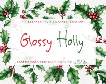Watercolor holly clipart christmas clip art winter flowers winter wedding invitation green leaves red berries evergreen holly clip ilex xmas