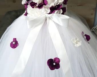 White and purple tutu dress. Flower girl dress. Wedding dress. Hydrangea tutu dress. Flower girl tulle dress. Toddler dress. Girls dress.