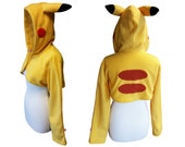 Pokemon Pikachu inspired cute yellow cosplay costume hoodie (shrug style), pokemongo, pokemon trainer, ash ketchum, pokemon cosplay