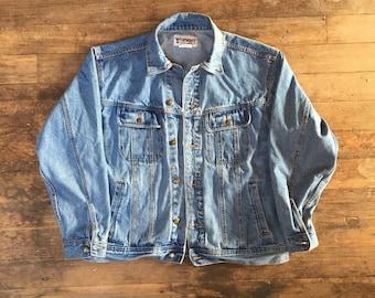 VTG Wrangler Jean Jacket - Large Mens - Denim Jacket - Vintage Clothing - Jeans - Vintage Denim - Workwear - Grunge - Black Magika -