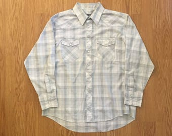 VTG Wrangler Western Shirt - XL - Cowboy Shirt - Rockabilly - Vintage Clothing - Light Blue - Rancher - Dress Shirt - Snap Buttons -