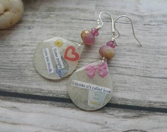 Pennythoughts Earrings. Quotation Jewellery. A. A. Milne. Delicate. Sterling silver. Literary Earrings. UK artist. Unique jewellery