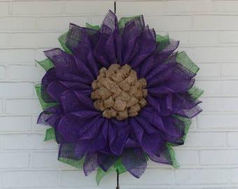 Deep Purple Poly Burlap Sunflower Wreath