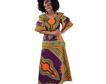 African Traditional PrintBlouse and skirt Set