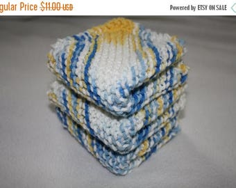 10% OFF SALE Knit Dish Cloth Set of 3, Blue Knit Dish Cloth, Yellow Knit Dish Cloth, Knit Wash Cloth