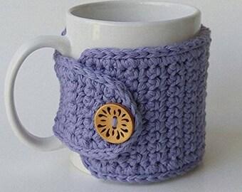 Crochet Cup Cozy, Crochet Mug Cozy, Tea Gift, Coffee Gift, Office Gift, Teacher Gift, Purple Cozy