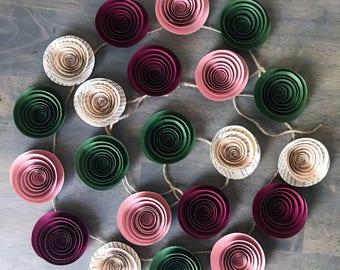 Paper Flower Garland - Burgundy - Moss Green - Dusty Rose - Book Page - Wedding - Reception - Bridal Shower - Baby Shower - Streamer