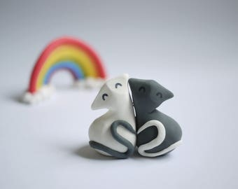 Black and White Cat Wedding Cake Topper (With or Without Rainbow)