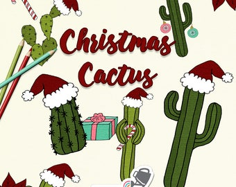 Christmas Clip Art - fun hand drawn Christmas themed cacti illustrations with Santa hats, candy canes, lights & presents - commercial use OK