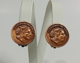 Vintage Copper Clip On Earrings / Vintage Coin Earrings