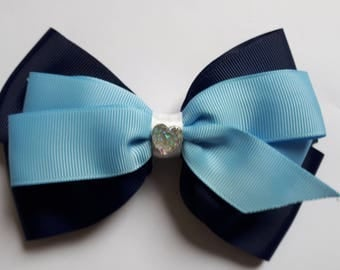 Light Blue/Navy Hair Bow with Sparkle Embellishment