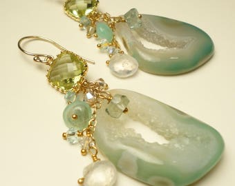 Druzy Agate Earrings-Moss Green Aquamarine-Peruvian Opals-Apatite-Moonstone-Crystals-Gold Filled-Vermeil-Beach