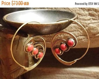 Holiday SALE 85 % OFF Golden Brass Red Coral Gemstone Hoops Earrings
