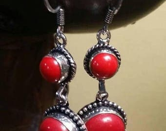 Holiday SALE 85 % OFF Red Coral Sterling silver Earrings Gemstone  .925