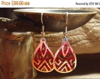 Holiday SALE 85 % OFF Abalone Turquoise  Boho Hippie Chic Bohemian Gypsy Belly Dancer Earrings