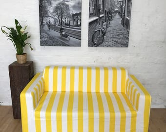Ikea slip cover for Klobo sofa in Yellow and White Strip cotton fabric