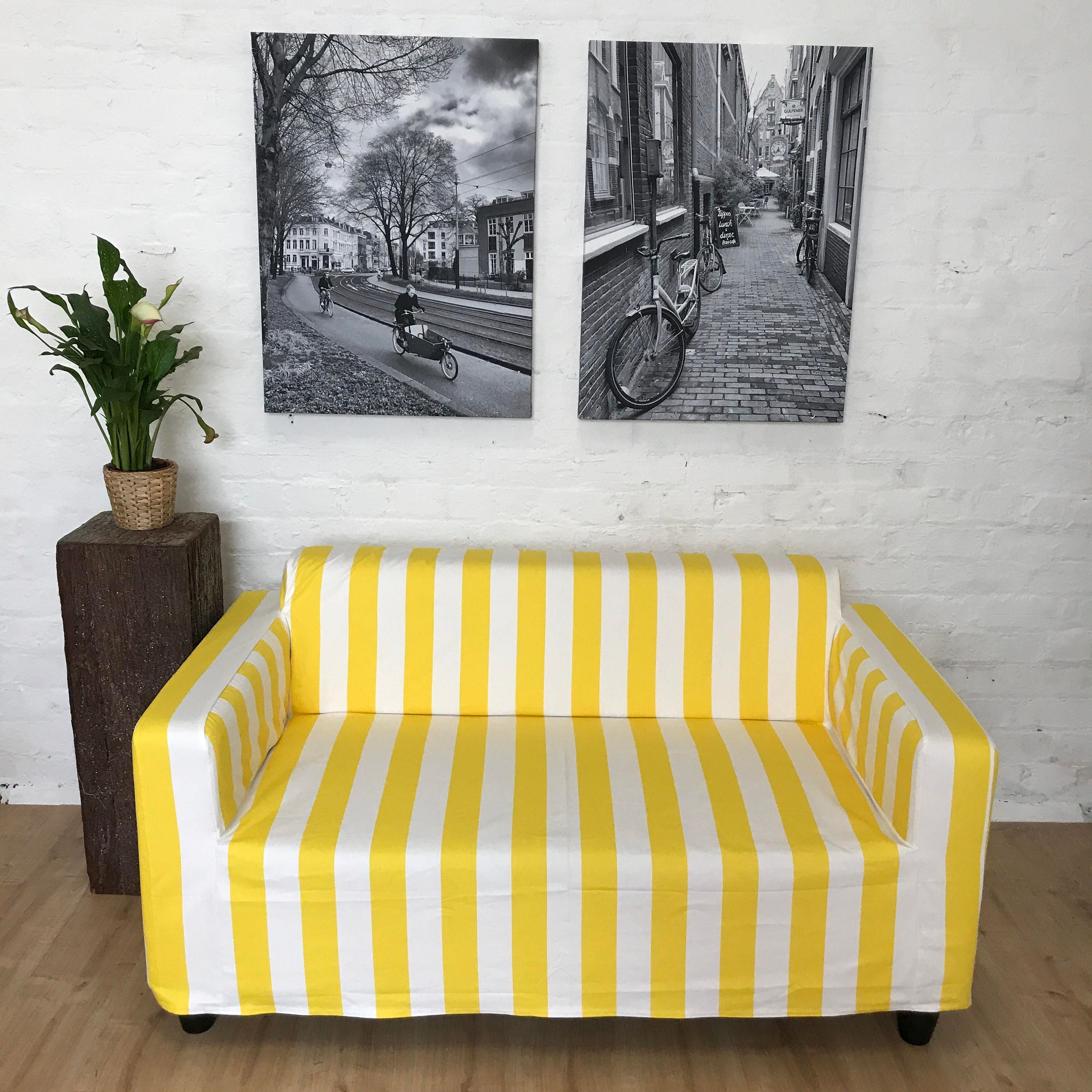 Ikea slip cover for Klobo sofa in Yellow and White Strip