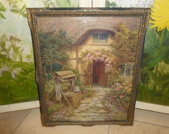 Lovely Vintage English Cottage Print 1930's-1940's