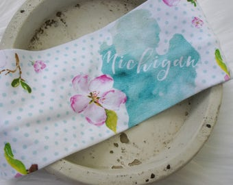 Michigan with Pink Flower Headband.  Head wrap.  Turban.  Twist Headband.  Gift.  State of Michigan.