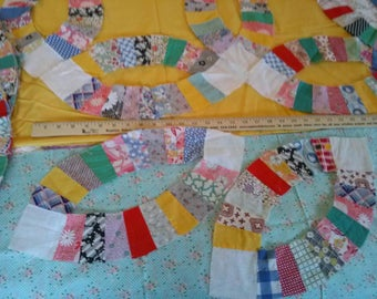 vintage cotton double wedding ring quilt blocks - Wedding Ring Quilt