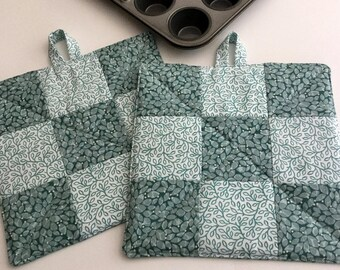 Turquoise Handmade Potholders Quilted Insulated Turquoise Nine Patch Hot Pads