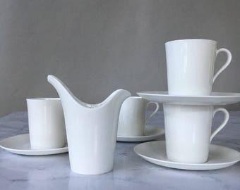 Vintage Gustavsberg Demitasse Cups, Stig Lindberg Creamer, Scandinavian modern, white bone china, Gustavsberg benporslin, modernist pottery