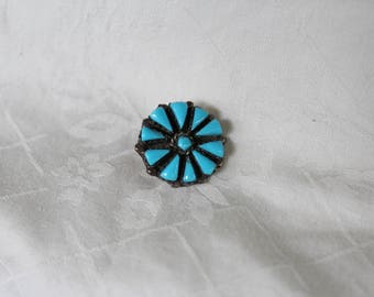 Turquoise stone set in Sterling, Turquoise flower pin, western pin, Sterling Flower pin in Turquoise stones