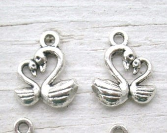"""Momma & Baby Swans charms, set of 5, facing each other """"snuggling"""" with foreheads together, very adorable charms, double sided, silver color"""