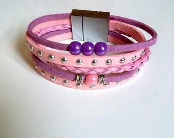 Bracelet Multi strand rose tone