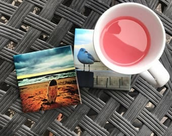 "Housewarming Gift for Men / Ceramic Drink Coaster(s) / ""Surfs Up"" Beach House Decor / Lifeguard Gift / Beach Gift"