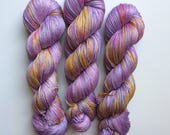 NEW edition Hand dyed yarn 4ply finger weight merino and silk 100g. In Violet dip Non mulesed ethically sourced.